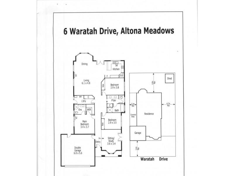 6 Waratah Drive, Altona Meadows VIC 3028 Floorplan