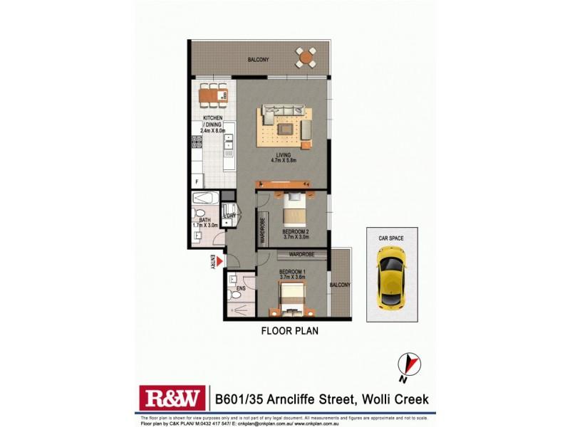 B601 35 Arncliffe Street, Wolli Creek NSW 2205 Floorplan