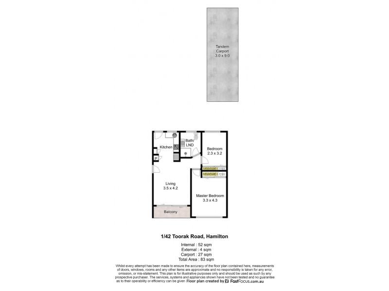 1/42 Toorak Road, Hamilton QLD 4007 Floorplan