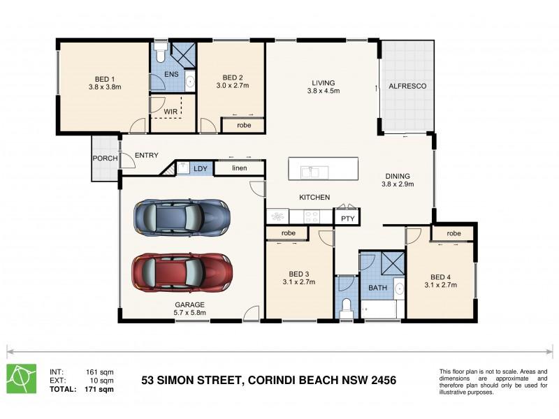 53 Simon Street, Corindi Beach NSW 2456 Floorplan