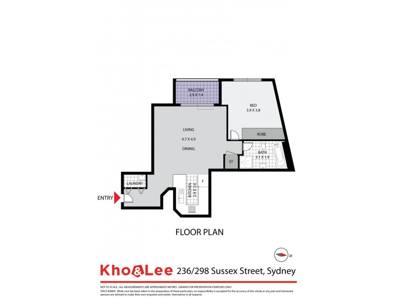 236/298 Sussex Street, Sydney NSW 2000 Floorplan