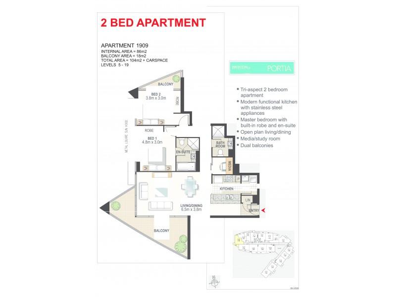 1809/2 Aqua Street, Southport QLD 4215 Floorplan