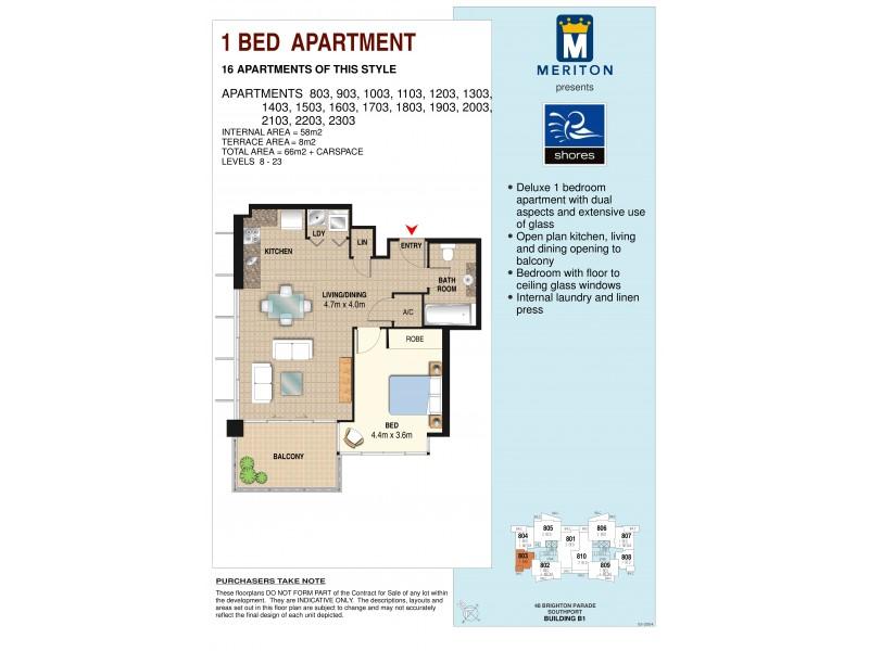 2303/1 Como Crescent, Southport QLD 4215 Floorplan