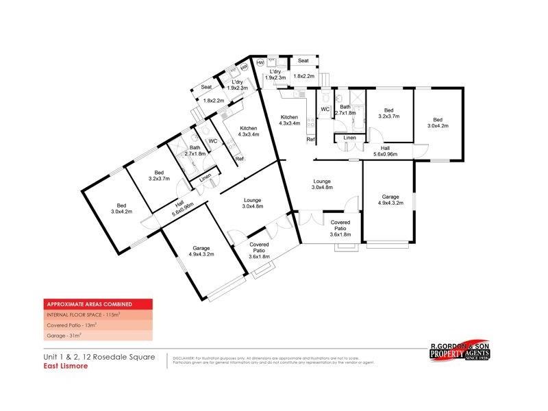 1 & 2/12 Rosedale Square, East Lismore NSW 2480 Floorplan