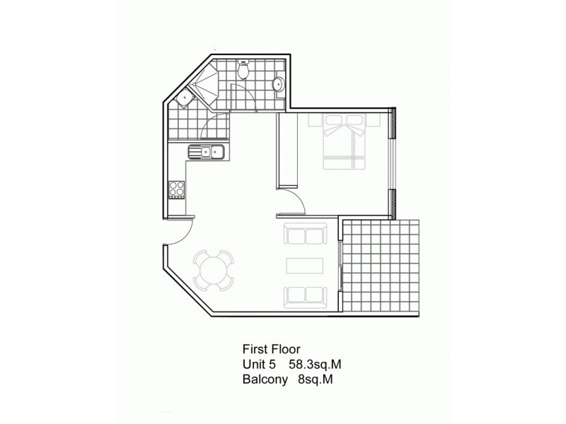1 Bed & 1 Bath Apartments @  Wilson Street, Dandenong VIC 3175 Floorplan