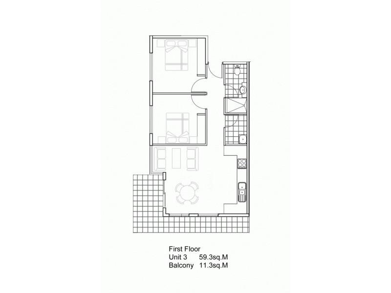 2 Bed & 1 Bath Apartments @  Wilson Street, Dandenong VIC 3175 Floorplan