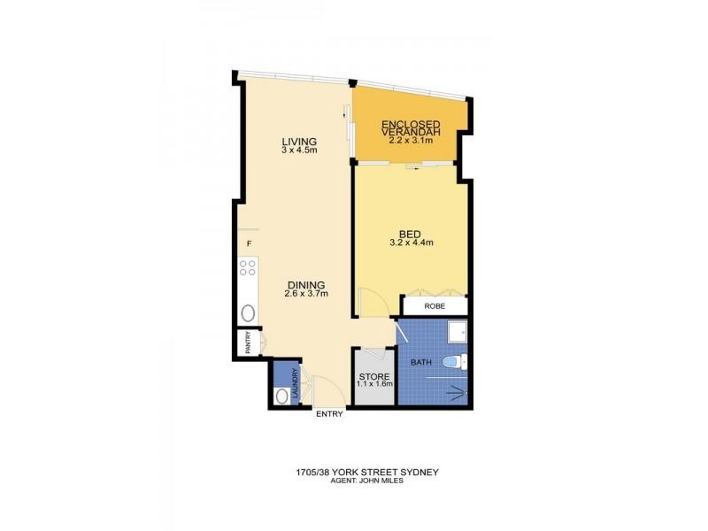 1705/38 York Street, Sydney NSW 2000 Floorplan