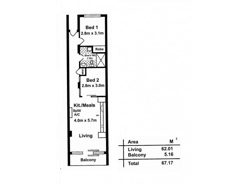 Res 33/45 York Street, Adelaide SA 5000 Floorplan