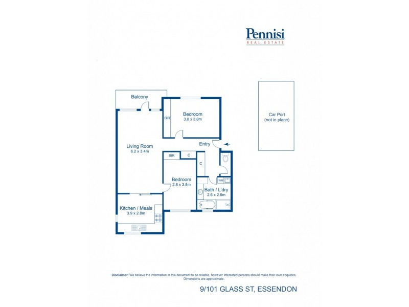9/101 Glass Street, Essendon VIC 3040 Floorplan