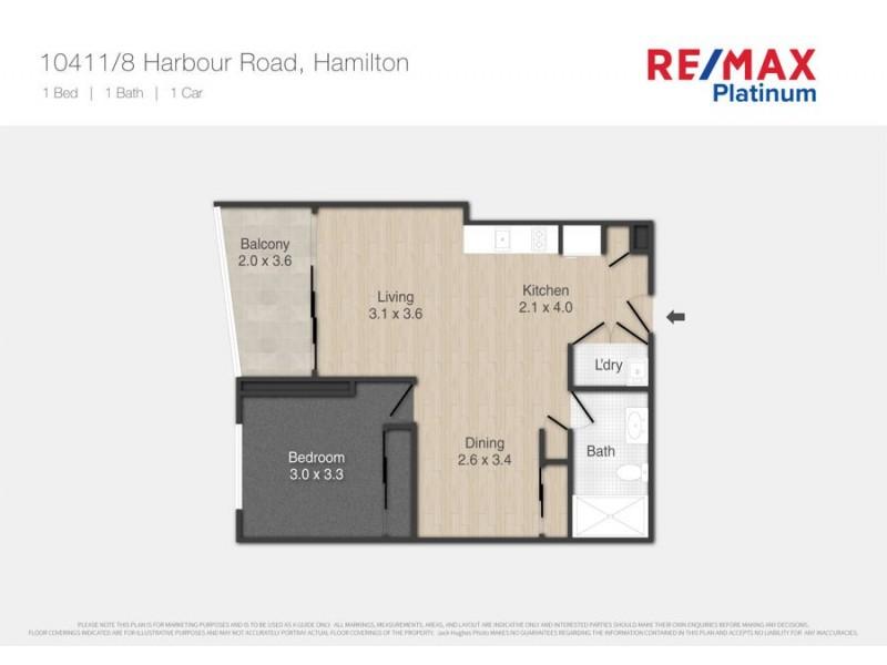 10411 / 8 Harbour Road, Hamilton QLD 4007 Floorplan