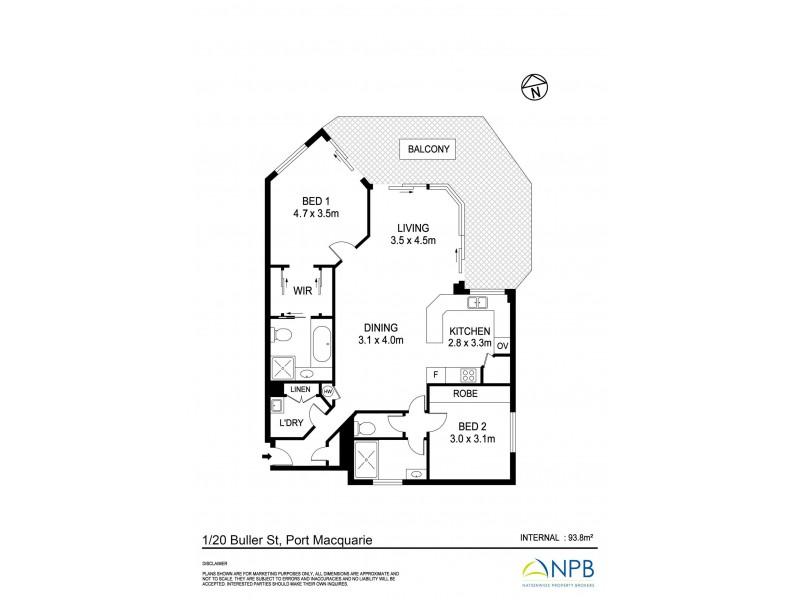 1/20 Buller Street, Port Macquarie NSW 2444 Floorplan