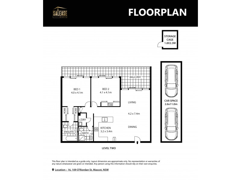 16/109-123 O'Riordan Street, Mascot NSW 2020 Floorplan