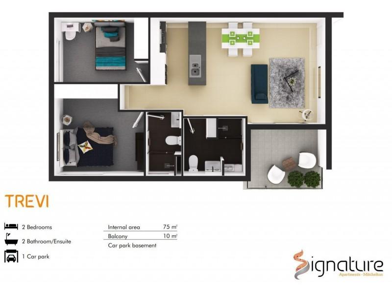 2301/132 Osborne Road, Mitchelton QLD 4053 Floorplan