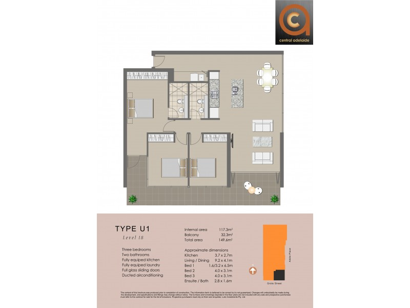 1803A/152-160 Grote Street, Adelaide SA 5000 Floorplan