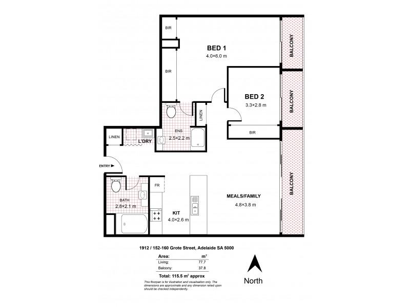 1912/152-160 Grote Street, Adelaide SA 5000 Floorplan