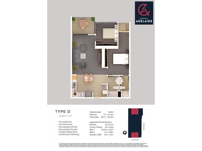 1115/152-160 Grote Street, Adelaide SA 5000 Floorplan