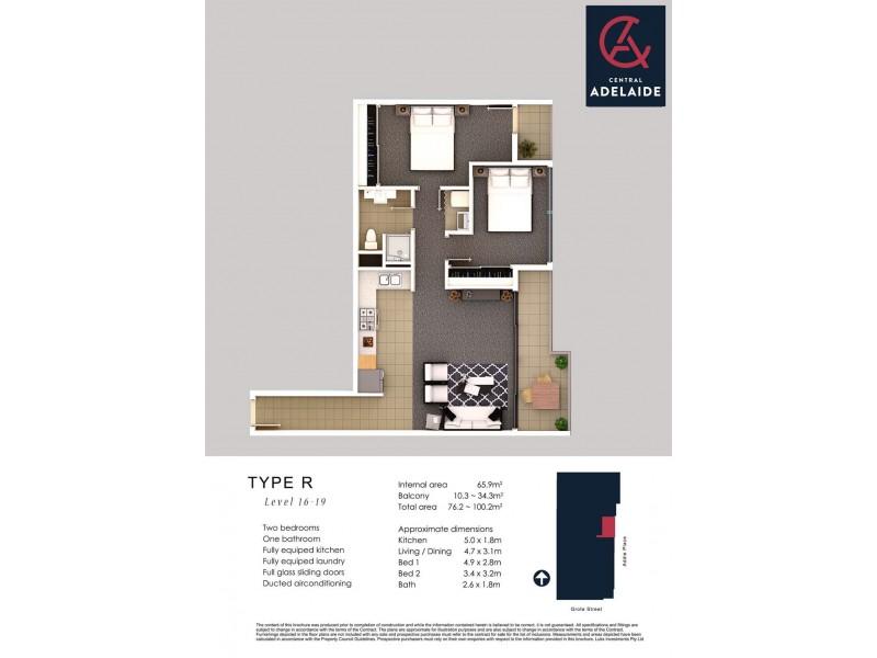 1601/152-160 Grote Street, Adelaide SA 5000 Floorplan