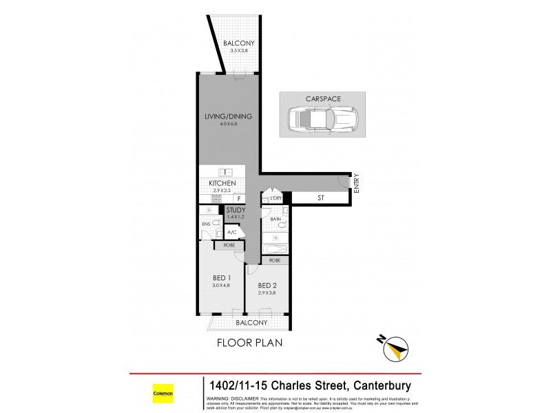 1402/11-15 Charles Street, Canterbury NSW 2193 Floorplan