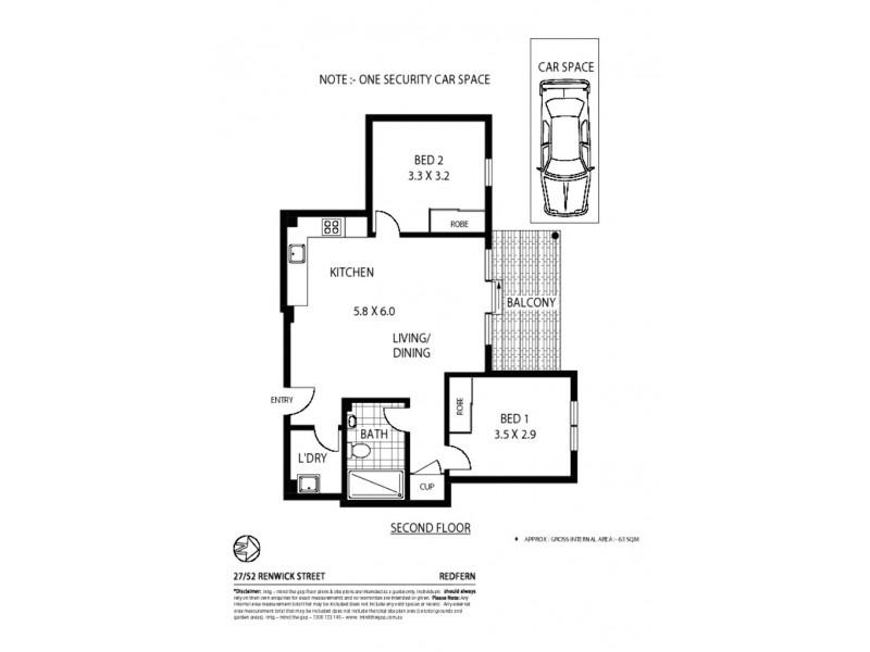 27/52 Renwick Street, Redfern NSW 2016 Floorplan