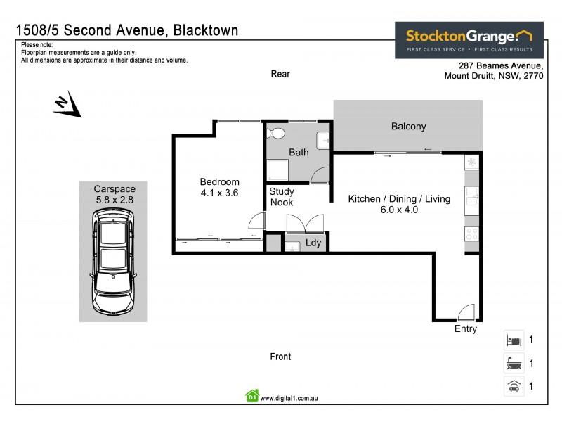 1508/5 Second St, Blacktown NSW 2148 Floorplan