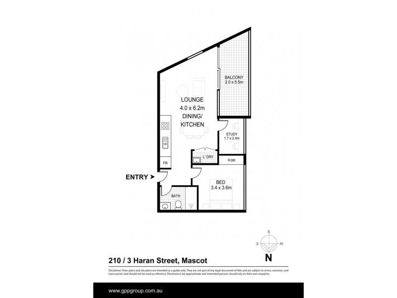 210/3 Haran St, Mascot NSW 2020 Floorplan