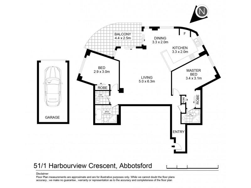 51/1 Harbourview Crescent, Abbotsford NSW 2046 Floorplan