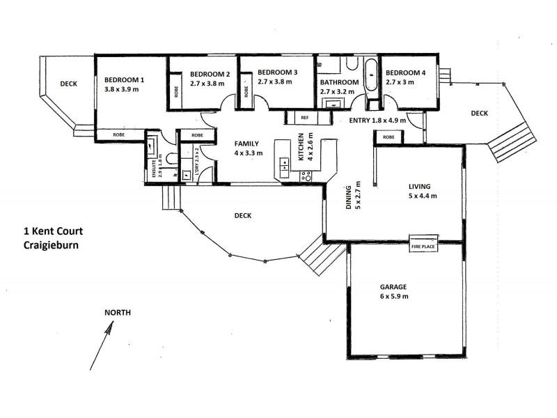 1 KENT COURT, Craigieburn VIC 3064 Floorplan
