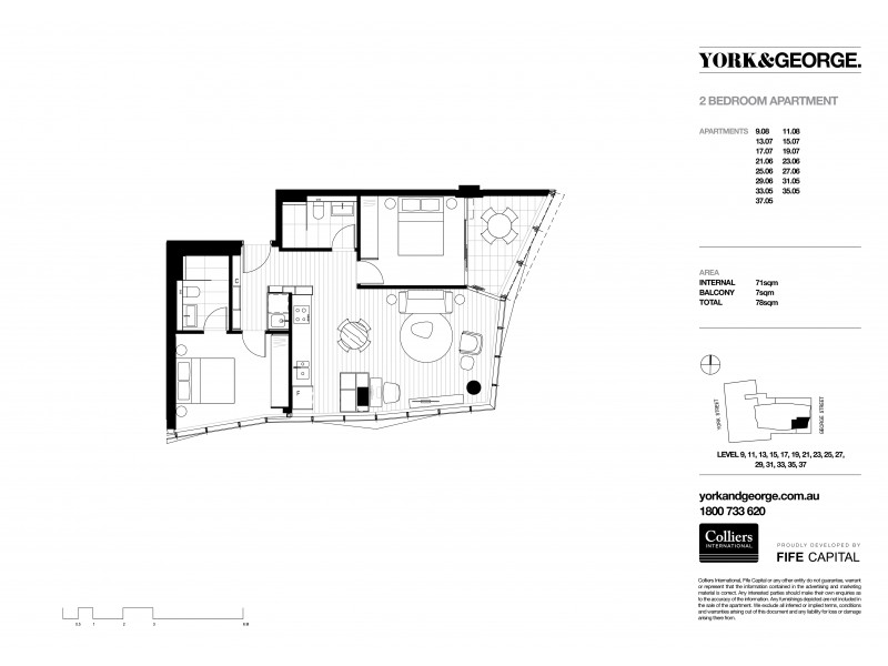 1507/38 York Street, Sydney NSW 2000 Floorplan