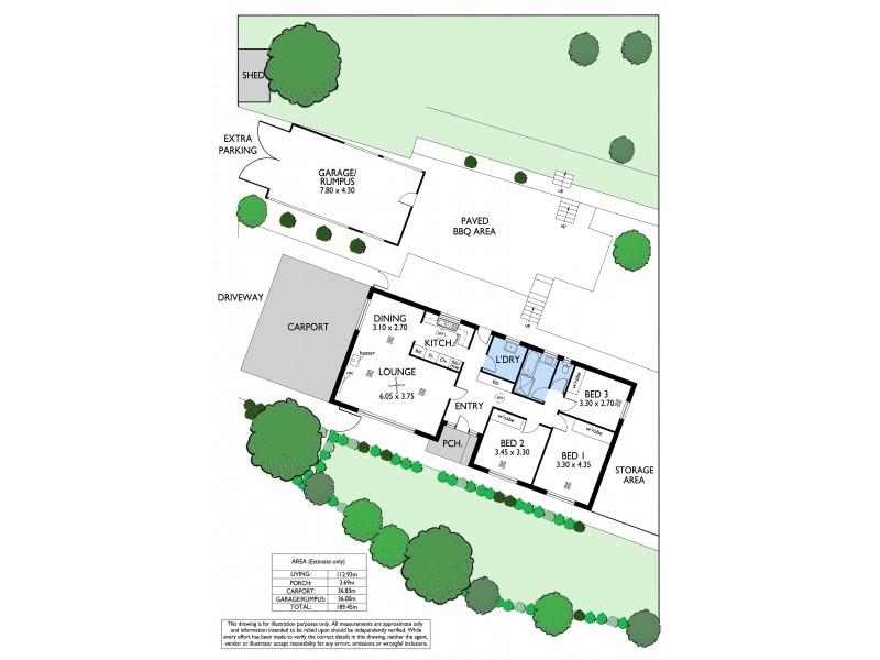 54 Glenwood Drive, Bellevue Heights SA 5050 Floorplan