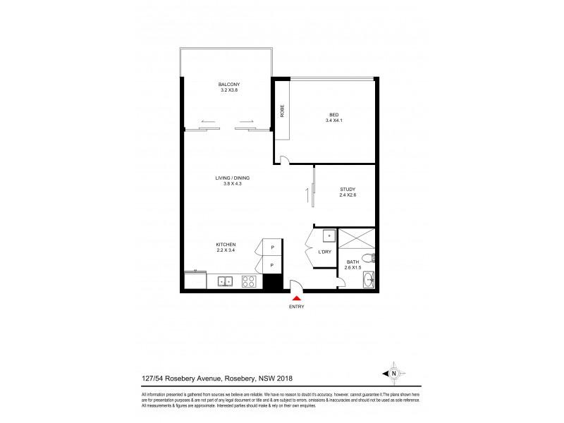 127/54 Roseberry Avenue, Rosebery NSW 2018 Floorplan