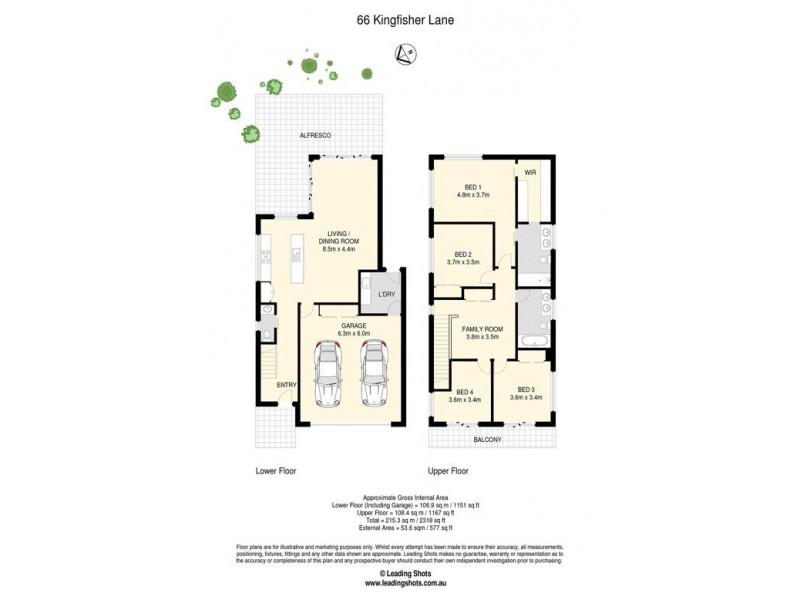 66 KINGFISHER LANE, East Brisbane QLD 4169 Floorplan