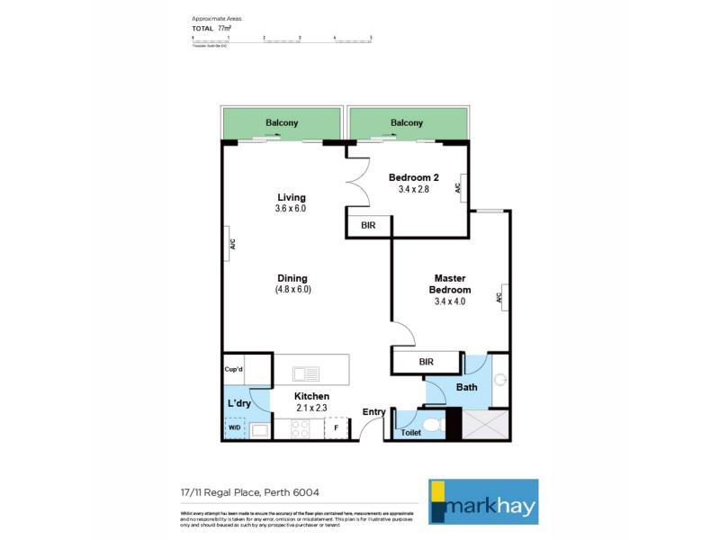 17/11 Regal Place, East Perth WA 6004 Floorplan