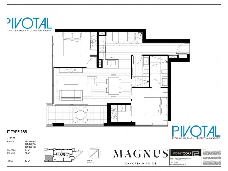 2405/59 O'Connell St, Kangaroo Point QLD 4169 Floorplan
