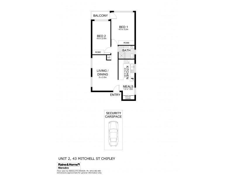 2/43 Mitchell Street, Chifley NSW 2036 Floorplan