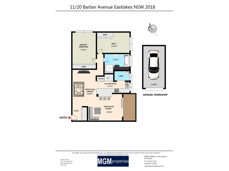 11/20 Barber Ave, Eastlakes NSW 2018 Floorplan