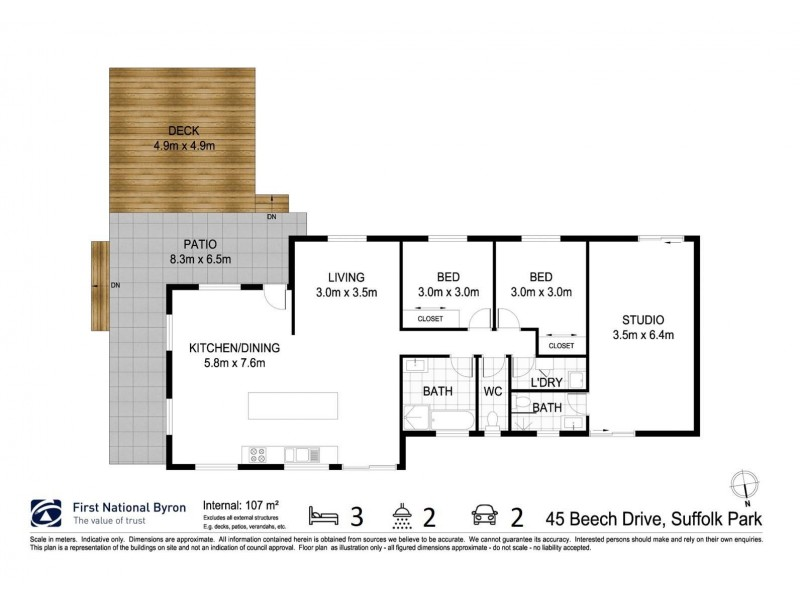 45 Beech Drive, Suffolk Park NSW 2481 Floorplan