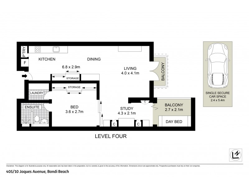405/10 Jaques Avenue, Bondi Beach NSW 2026 Floorplan