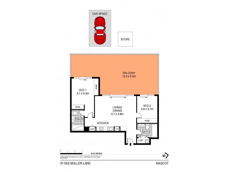 911B/2 Muller Lane, Mascot NSW 2020 Floorplan