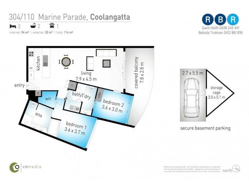 304/110 Marine Parade, Coolangatta QLD 4225 Floorplan