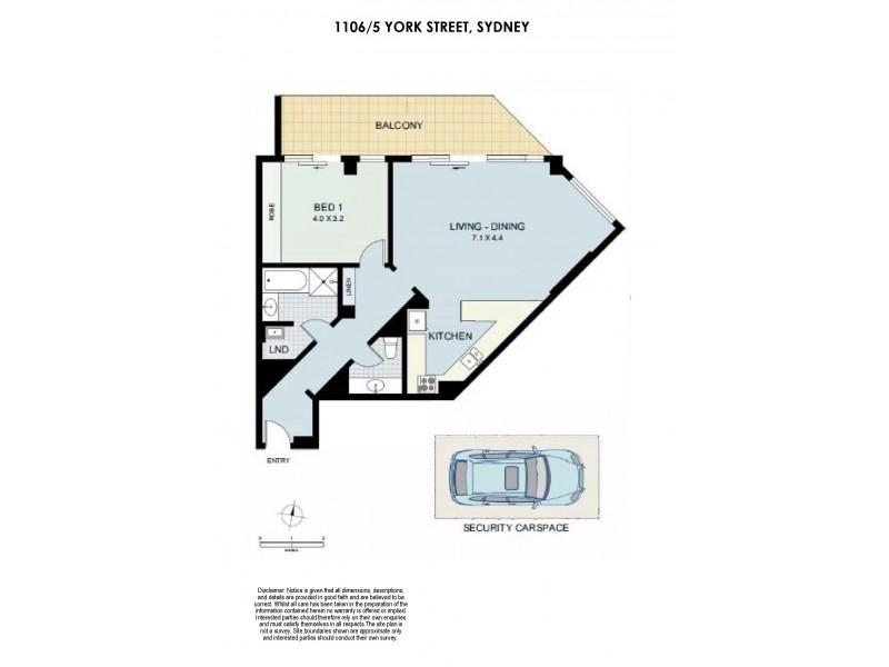 1106/5 York Street, Sydney NSW 2000 Floorplan