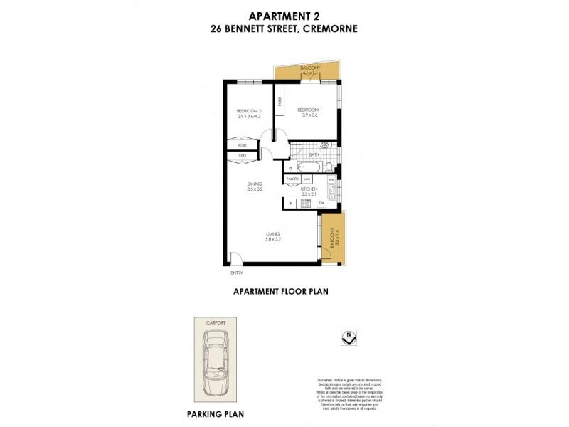 2/26 Bennett Street, Cremorne NSW 2090 Floorplan