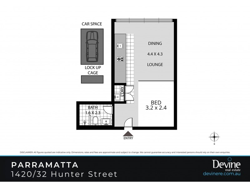 1420/32 Hunter Street, Parramatta NSW 2150 Floorplan