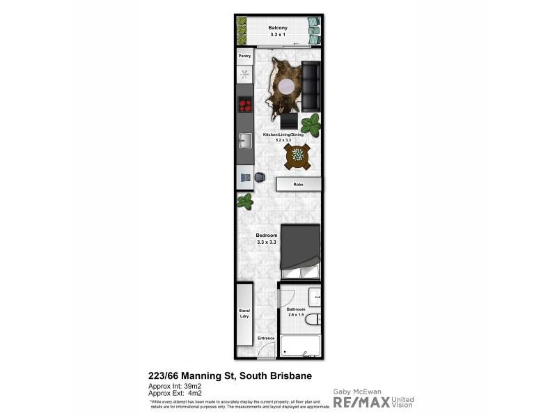 223/66 Manning Street, South Brisbane QLD 4101 Floorplan