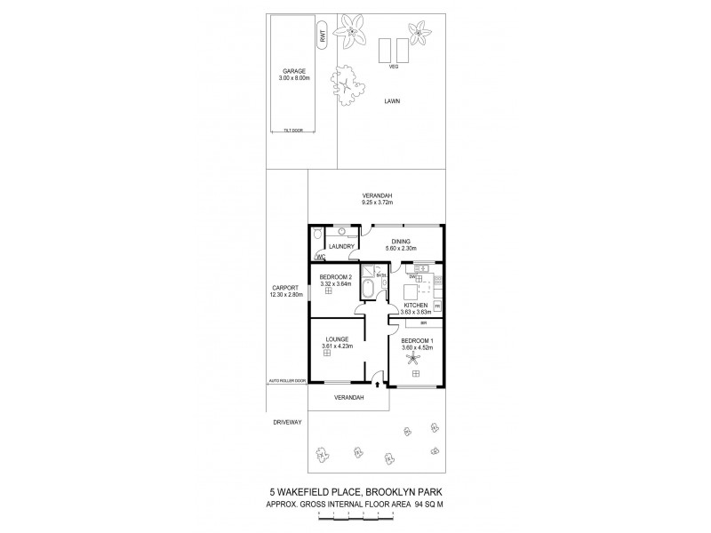 5 Wakefield Place, Brooklyn Park SA 5032 Floorplan