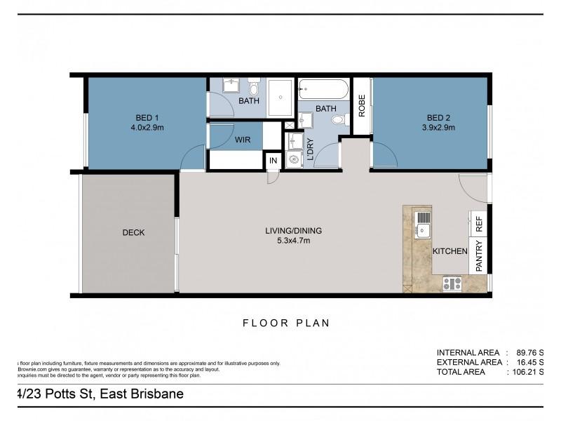 14/23 Potts Street, East Brisbane QLD 4169 Floorplan