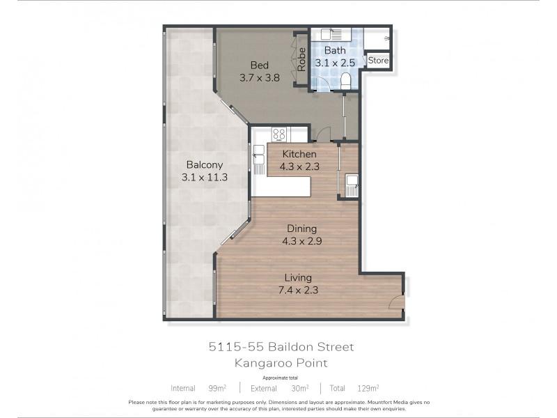 5115/55 Baildon Street, Kangaroo Point QLD 4169 Floorplan