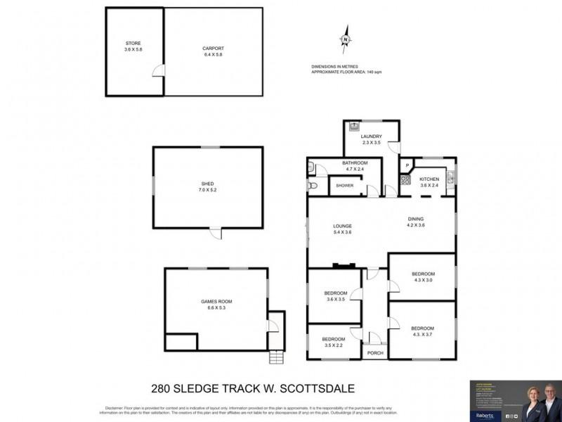 280 Sledge Track, Scottsdale TAS 7260 Floorplan