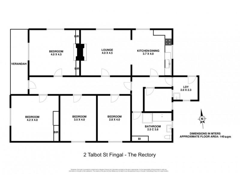2 Talbot Street, Fingal TAS 7214 Floorplan