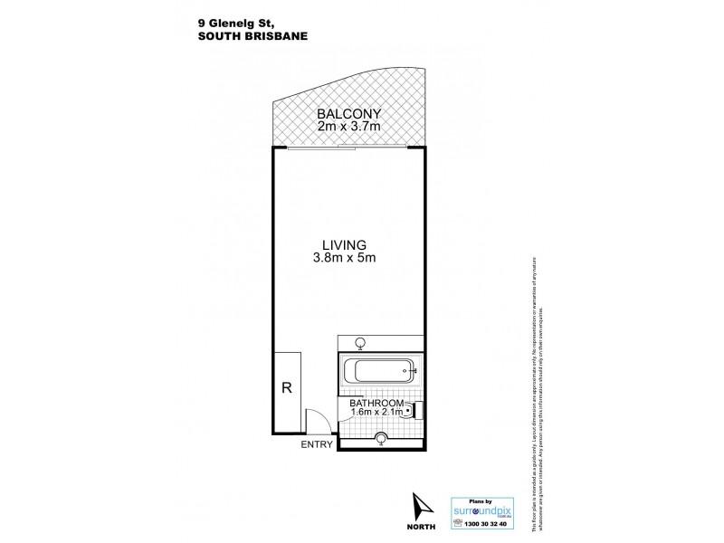 L4/9  Glenelg St., South Brisbane QLD 4101 Floorplan